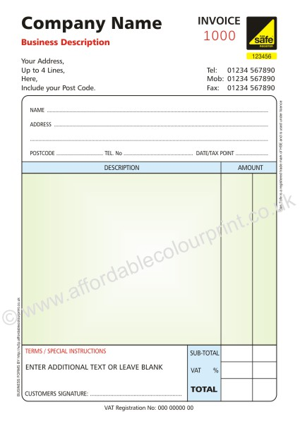 Gas safe invoice pads 2 part a5 numbered colour for Invoice pads personalized