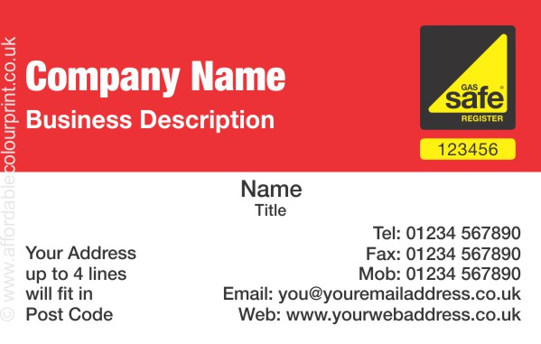 GAS SAFE: Business Card For Gas Safe Registered Plumbers and Heating Engineers - REF104
