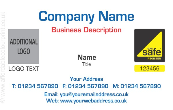 GAS SAFE: Business Card For Gas Safe Registered Plumbers and Heating Engineers - REF106