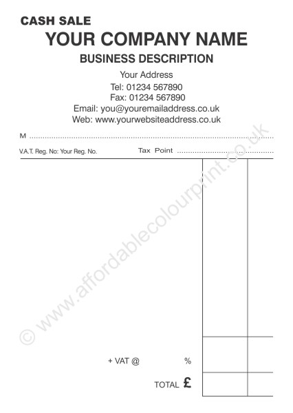 cash sale receipt pads