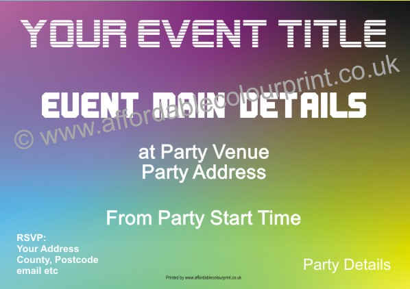 PARTY INVITATIONS: PARTY INVITE (SIZE A6) REF113
