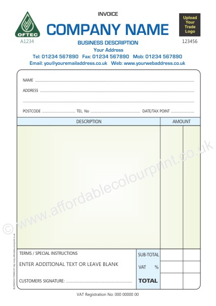 OFTEC INVOICE PADS A PART COLOUR - Invoice pads