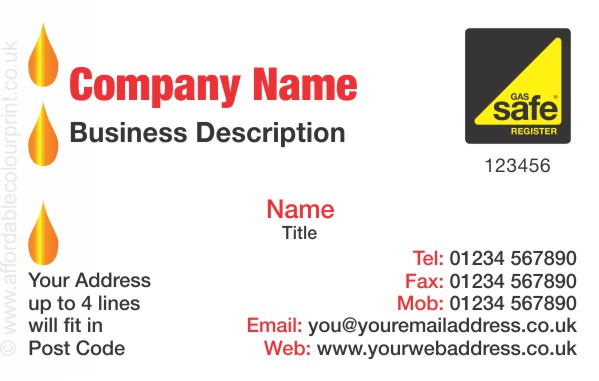 GAS SAFE: Business Card For Gas Safe Registered Plumbers and Heating Engineers - REF103