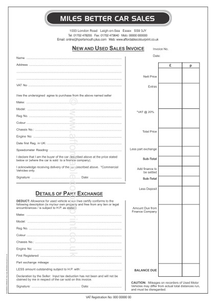 A  Part Car Sales Invoice Pads