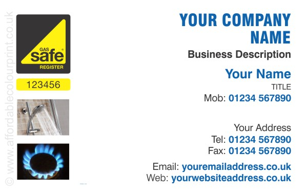 Gas Safe Business Card Design Ref 110