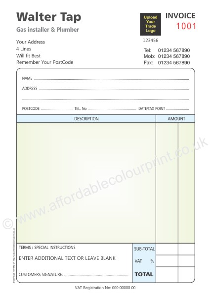 PLUMBING AND HEATING TRADE: A5 2 PART NUMBERED INVOICE PADS FOR TRADE MEMBER (COLOUR)