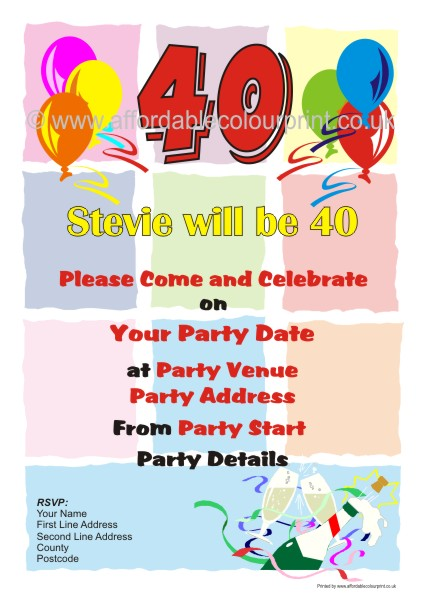 PERSONALISED BIRTHDAY INVITES: PARTY INVITATION 001