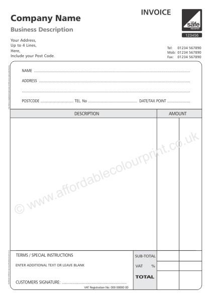 gas safe invoice pads