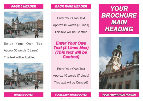 LOW COST BROCHURES: 3 FOLD BROCHURE CLASSIC PINK