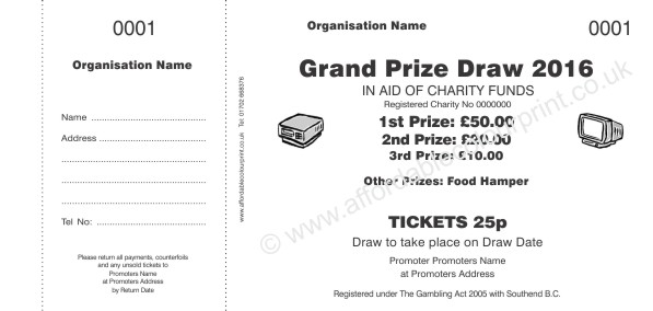 AFFORDABLE COLOUR PRINT RAFFLE TICKETS: RAFFLE TICKET 001 - Charity