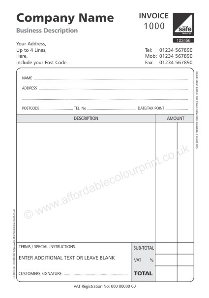GAS SAFE: GAS SAFE INVOICE PADS - 2 PART A5 NUMBERED (BLACK)