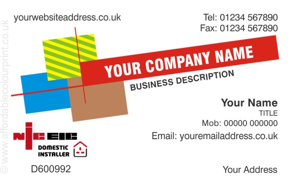 ELECTRICIANS - NICEIC: Business Card For NICEIC Registered Electricians REF208