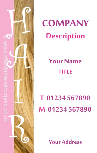 BEAUTY MASSAGE AND SPA: HAIR STYLISTS BUSINESS CARD Ref 850