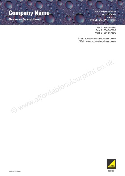 A4 Letterhead For Gas Safe Registered Plumbers And Heating