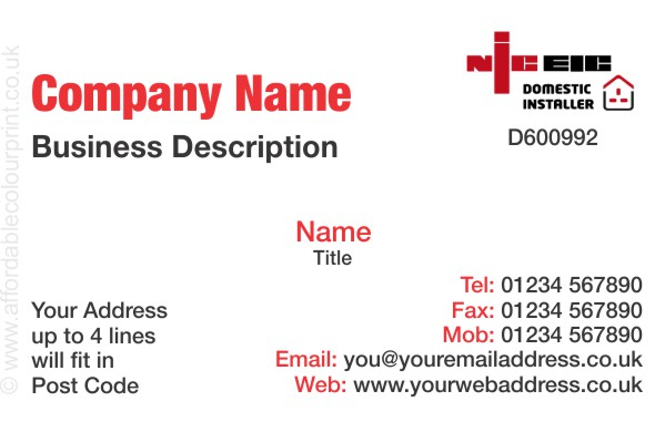 ELECTRICIANS - NICEIC: Business Card For NICEIC Registered Electricians REF205