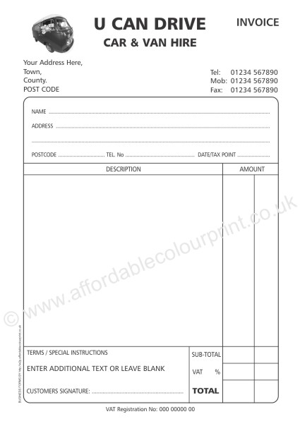 DESIGN YOUR OWN BUSINESS FORMS: A5 2 PART INVOICE PADS (BLACK)