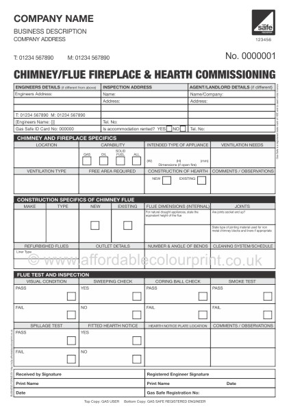Chimney Flue Fireplace Hearth Commissioning Report
