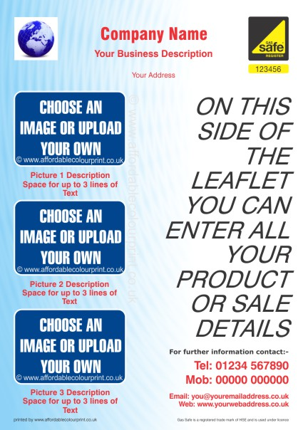HEATING AND PLUMBING TRADE: GAS SAFE A5 LEAFLET 004