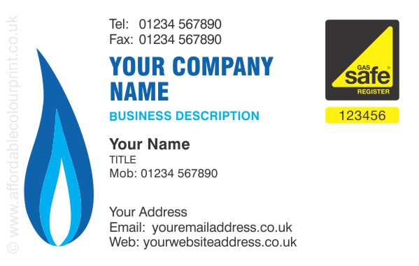 GAS SAFE: Gas Safe Business Card Design Ref 112