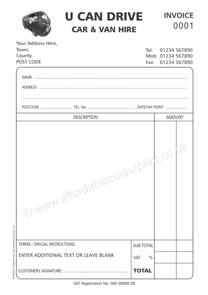DESIGN YOUR OWN BUSINESS FORMS: A5 2 PART NUMBERED INVOICE PADS (BLACK)