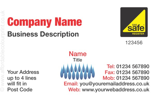 GAS SAFE: Business Card For Gas Safe Registered Plumbers and Heating Engineers - REF105