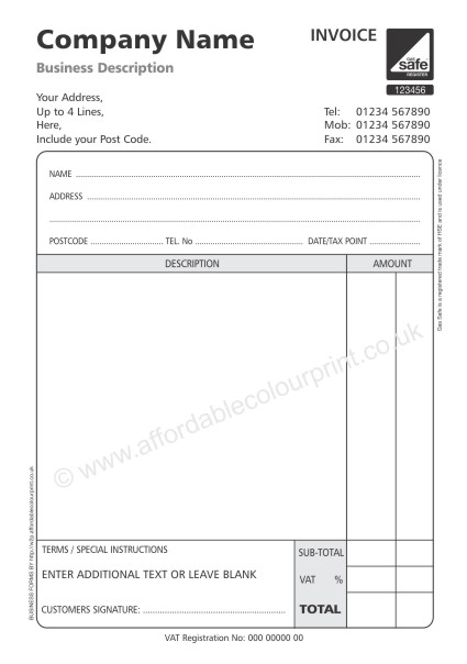 GAS SAFE INVOICE PADS PART A BLACK - 2 part invoices
