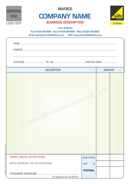 GAS SAFE INVOICE PADS PART A COLOUR With Additional Logo - 2 part invoices