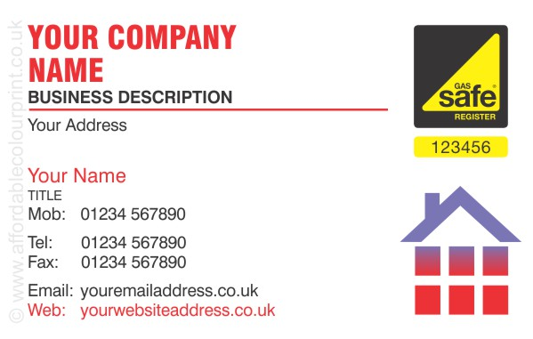 GAS SAFE: Gas Safe Business Card Design Ref 108