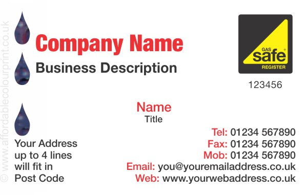 GAS SAFE: Business Card For Gas Safe Registered Plumbers and Heating Engineers - REF102