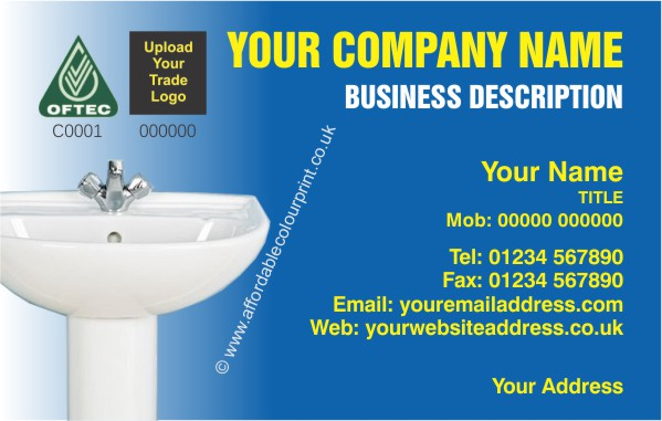 PLUMBING AND HEATING TRADE: PLUMBERS BUSINESS CARD DESIGN REF 450