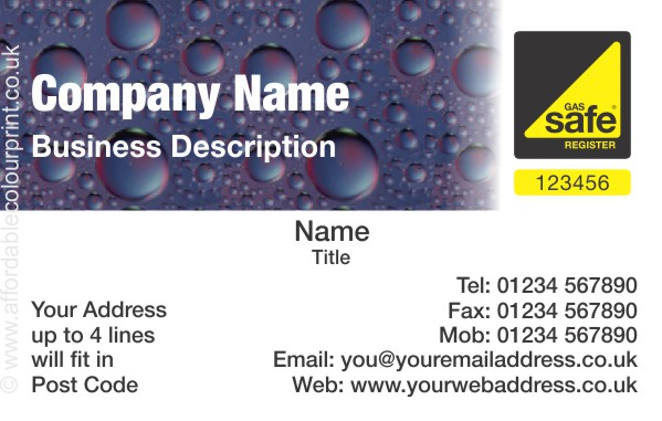 business card for gas safe registered plumbers and heating