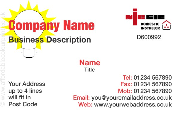 ELECTRICIANS - NICEIC: Business Card For NICEIC Registered Electricians REF206
