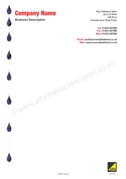 PLUMBING AND HEATING TRADE: A4 LETTERHEAD For Gas Safe Registered Plumbers and Heating Engineers - REF102